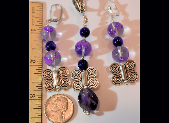 Purple Amy-thyst & Glass Butterfly Pendant/Earring Set