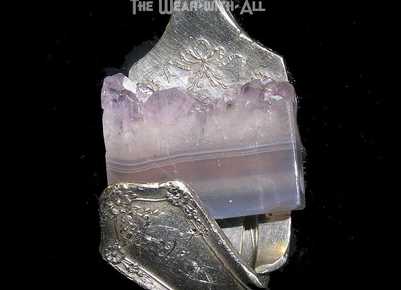 Amethyst Crystals in Folded Over Fork Pendant