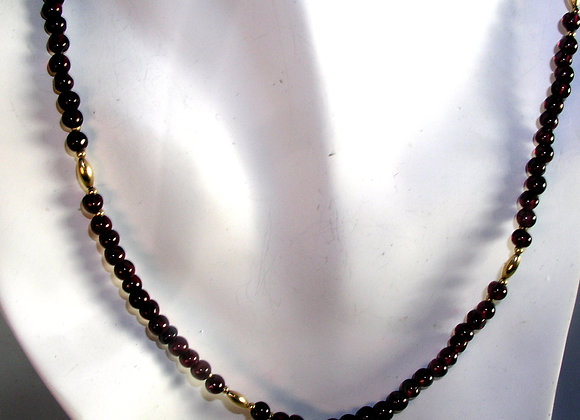 Garnet & Goldfilled Bead Necklace
