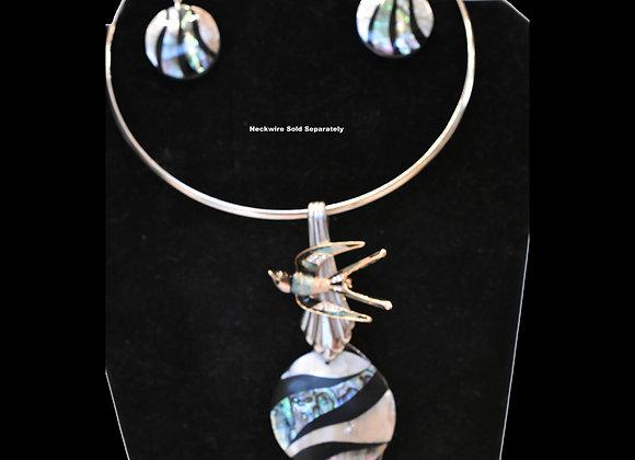 Mosaic Shell & Swallow SilverWare-It-All Pendant & Earring Set