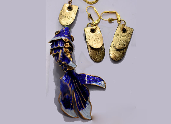 Blue Enamel Fish Necklace and Earring Set