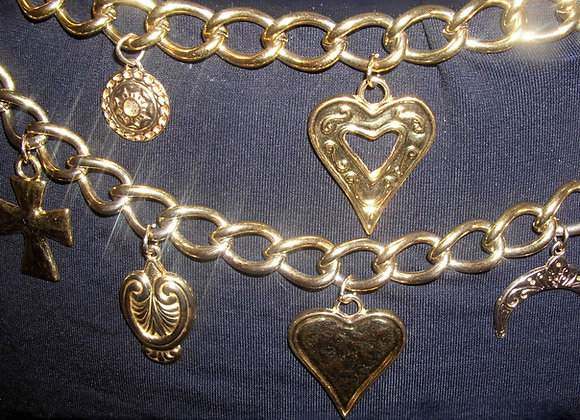 Sun, Moon, Stars & More Gold Chain Medallion Belt--Perfect for Bellydancing!