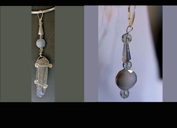 Silver-Blue Aura Quartz and Bead Pendant & Earring Set