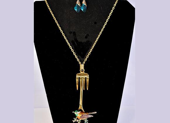 Green/Pink Rhinestone Bird SilverWare-It-All Necklace/Earring Set