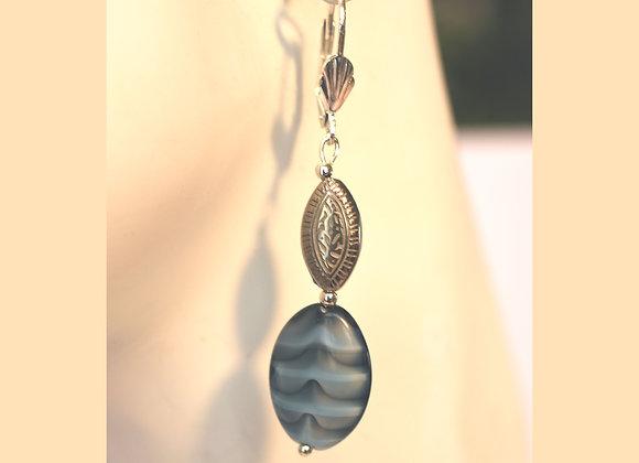 Striped Blue & Smoke Glass Earrings
