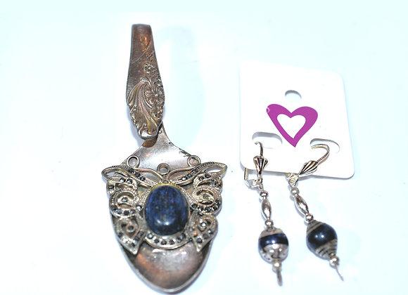 Filigree Lapis & Marcasite Butterfly Ornate Spoon Pendant & Earring Set