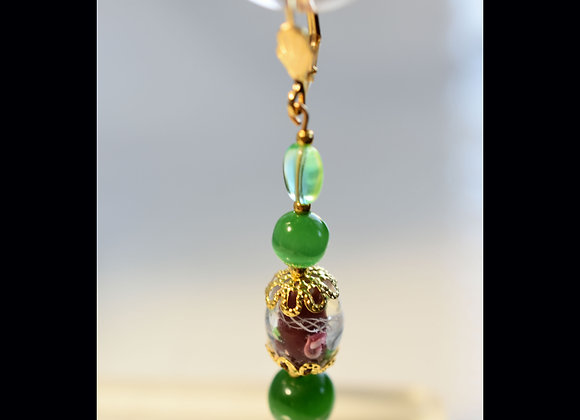 Burgundy Floral and Green Cat's Eye Glass Earrings