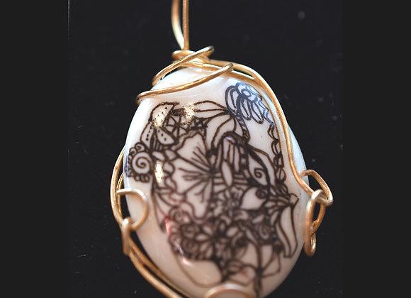 WireSculpted Decorated Bone Pendant