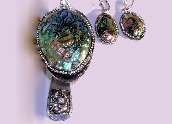 SilverWare-It-All Rainbow Abalone Rhinestone Pendant & Earring Spoon Set