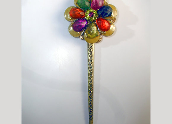 Bronze Enamel & Acrylic Faceted Gem, Flower & Butterfly Hair Stick