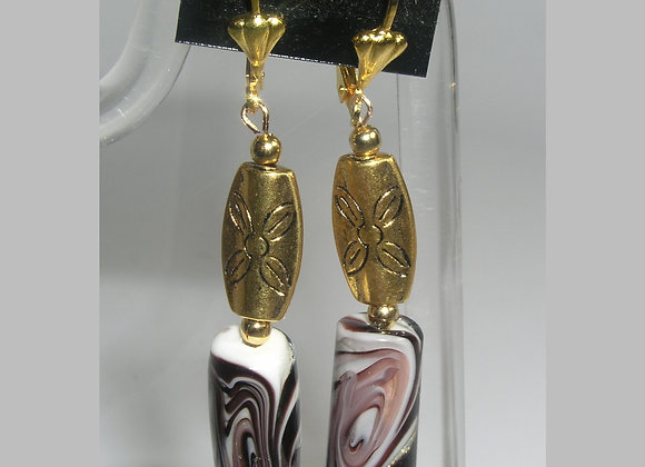 Animal Print + Long Oval Flower Goldplate Leverback Earrings