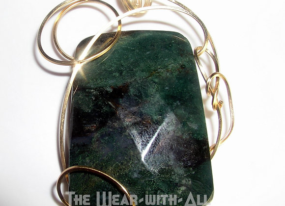 Moss Agate Faceted & Goldfilled Wire Pendant