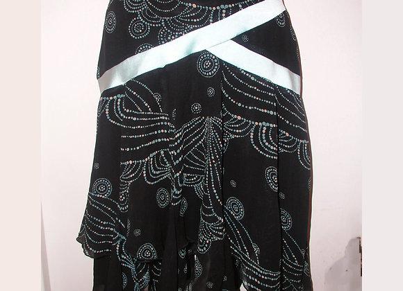 Bebe Sharkbite Hem 100% Silk Black & Powder Blue Skirt