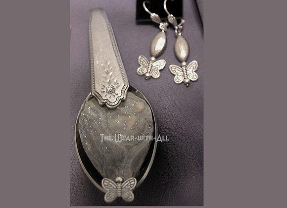Gray Sparkle Druzy Spoon Pendant & Earrings