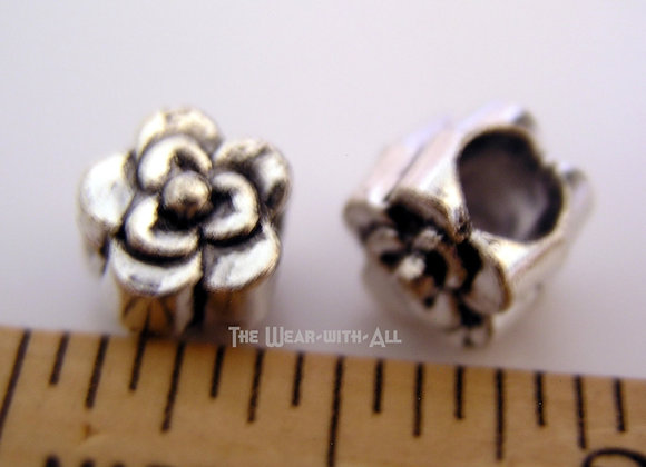 Large Hole Silverplate Single-Flower Beads for Neckwires