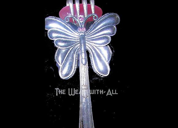 SilverWare-It-All Pink Cat's Eye & Butterfly Fork