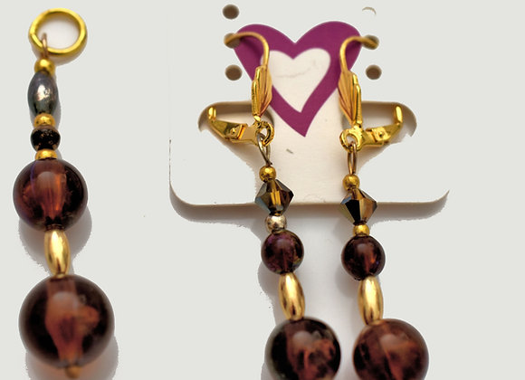 Amber Bead Necklace & Pendant Set