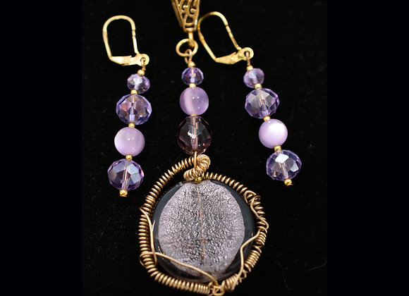 Wiresculpted Bead Frosted-Lavendar Pendant & Earring Set