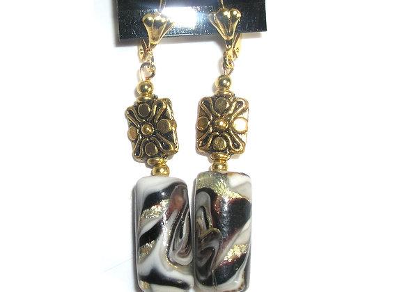 Animal Print + Square Flower Goldplate Leverback Earrings