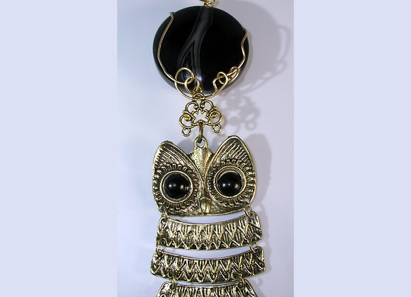 Wiresculpted Black Onyx & Owl Pendant & Earring Set or Decoration