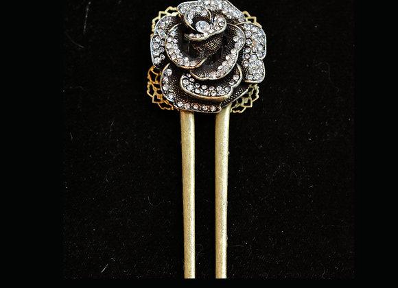 Big Rhinestone Rose Bronze Hairfork