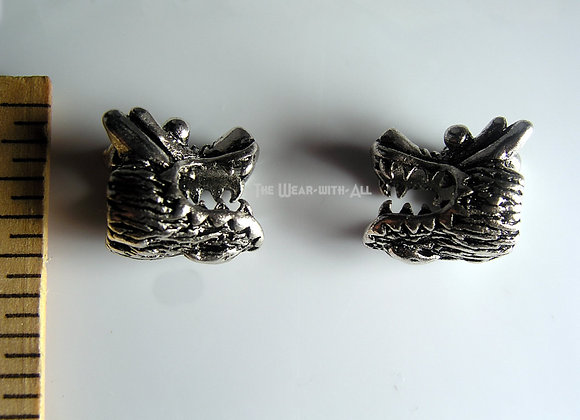 Large Hole Silverplate Dragon Head Bead for Neckwire
