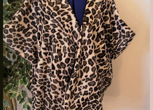 Cheetah Print & Tan Faux Suede Reversible Poncho
