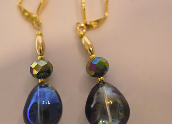 Large Rainbow Teardrop & Faceted Bead Glass Earrings