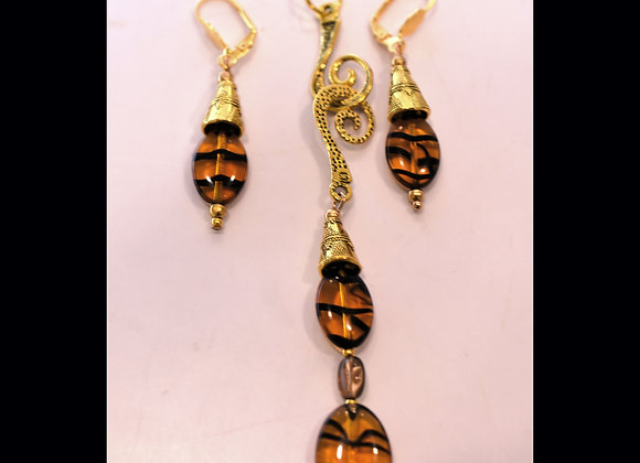 "Animal Print ""S"" Pendant & Earring Set"