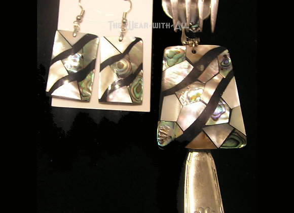 SilverWare-It-All Abalone Mosaic Pendant & Earrings