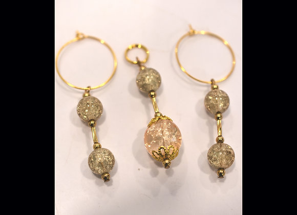 Champagne Citrine & Crackle Glass Pendant and Earrings Set