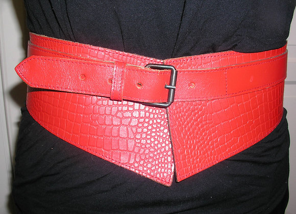 Red Leather Angled Cinch Style Belt