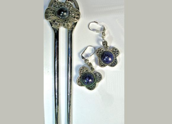 Lapis/Marcasite Flower Double Prong Hair Fork + Matching Earrings