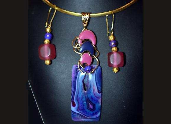 Purple & Pink Agate Swirl Pendant & Earring Set