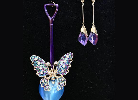 Radiant Purple & Blue SilverWare-It-All Pendant & Earring Set