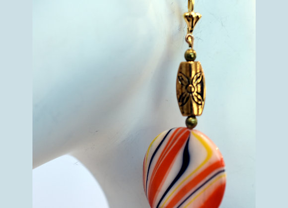 Haunting Color Mix--Orange/Black/White--Earrings