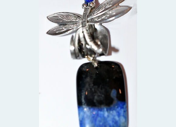 Blue/Black Agate Dragonfly SilverWare-It-All Fork & Earring Set