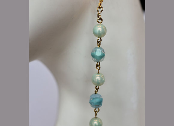 5 Faux Pearl & Faceted Turquoise-Colored Earrings