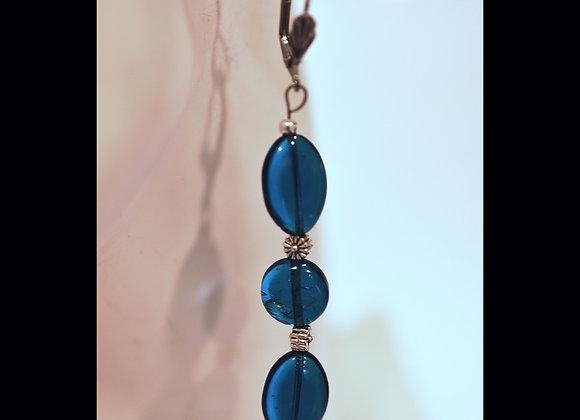 Cerulean Blue Glass Earrings
