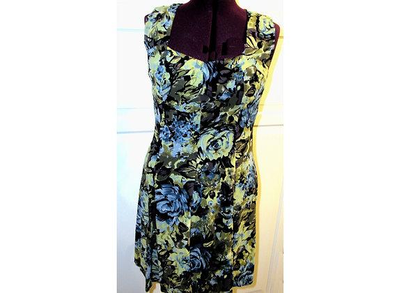 """BIYA Rated R"" Rayon Blue & Green Floral Dress"