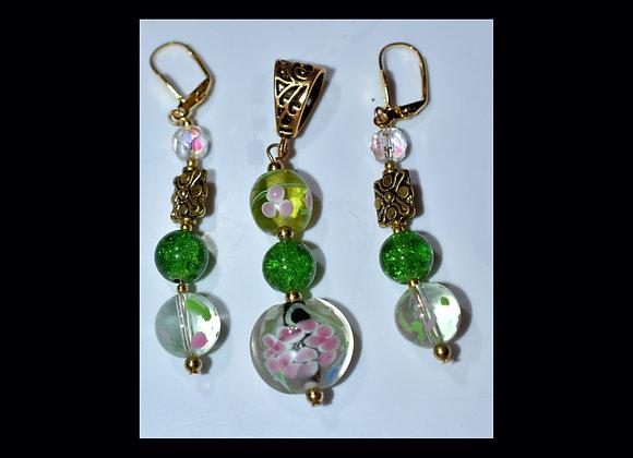 Pink & Green Floral Pendant & Earring Set
