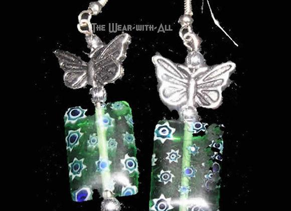 Green Glass & Butterfly Earrings