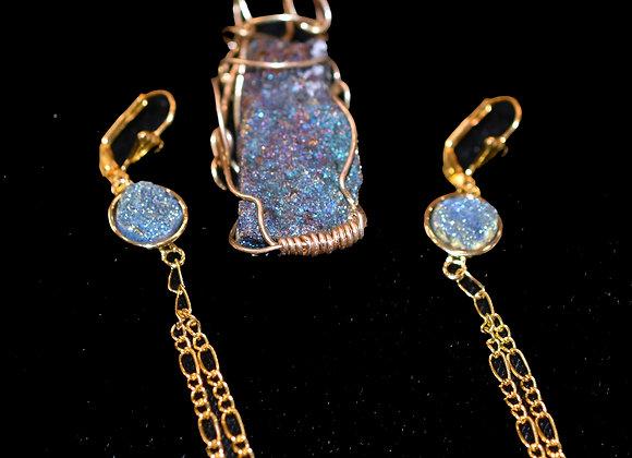 Jeweltone Druzy Pendant & Earring Set