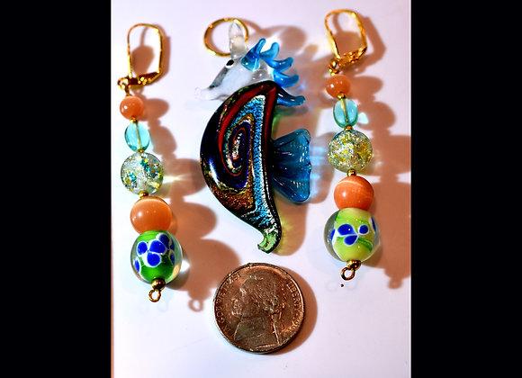 Colorful Glass Seahorse Pendant & Earring Set