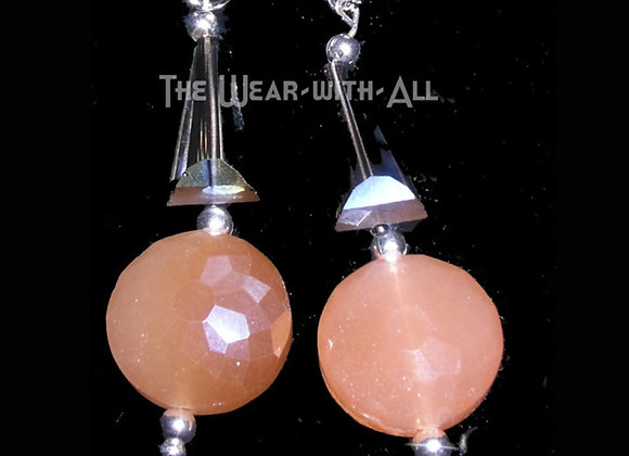 Apricot & Crystal Glass Earrings