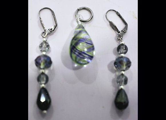 Green, Yellow, Blue Swirl Glass Pendant & Earring Set