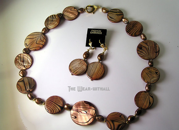 Animal Print Shell Necklace & Earring Set