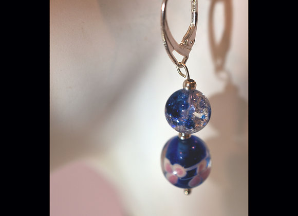Blue & Pink Floral and Crackle Glass Earrings