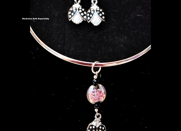 Black Ladybugs and Floral Glass Pendant & Earring Set