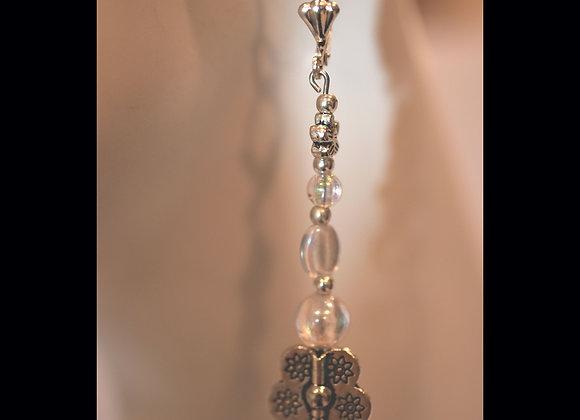 Crystal Bead and Flower Earrings